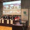 De izquierda a derecha: José María Lacasta, de Caixabank, Juan Manuel Ramón, alcalde de Jaca,  Jaime Pérez, jefe del Área de Cultura Científica del CSIC y Susana Lacasa, concejala de Cultura.